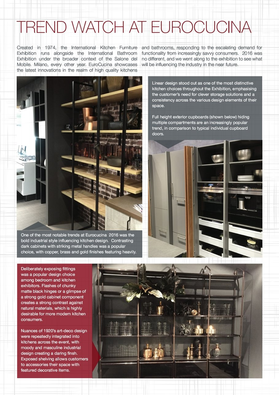 fbe6908e892b One the most notable trends Eurocucina 2016 was the bold industrial style  influencing kitchen design Contrasting dark cabinets with striking metal  handles ...