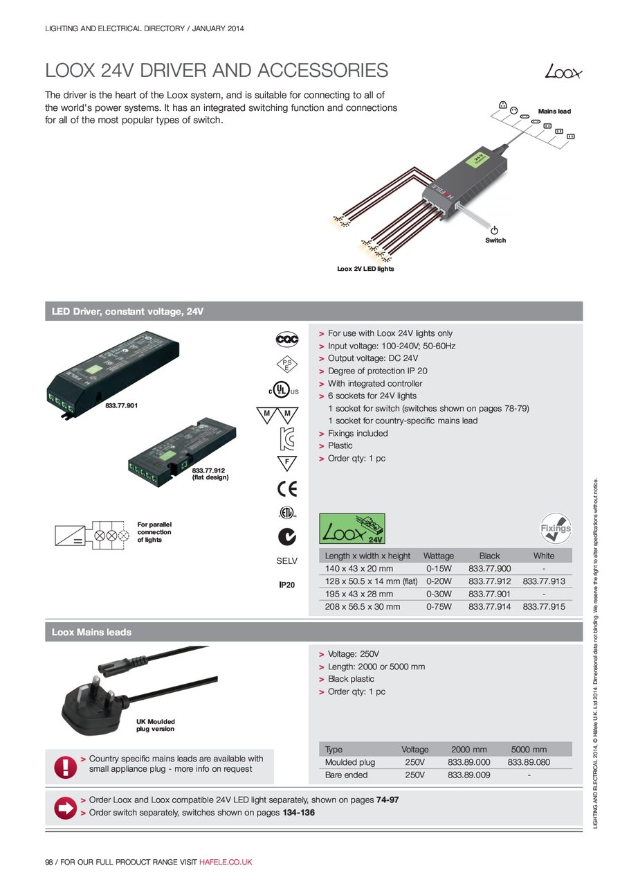 Mains Lead Switch Dc Wiring Diagram 4 Prug Loox Led Lights Lighting And Electrical Directory January 2014 L I G H T N A D 2 0 1 F E Hfele