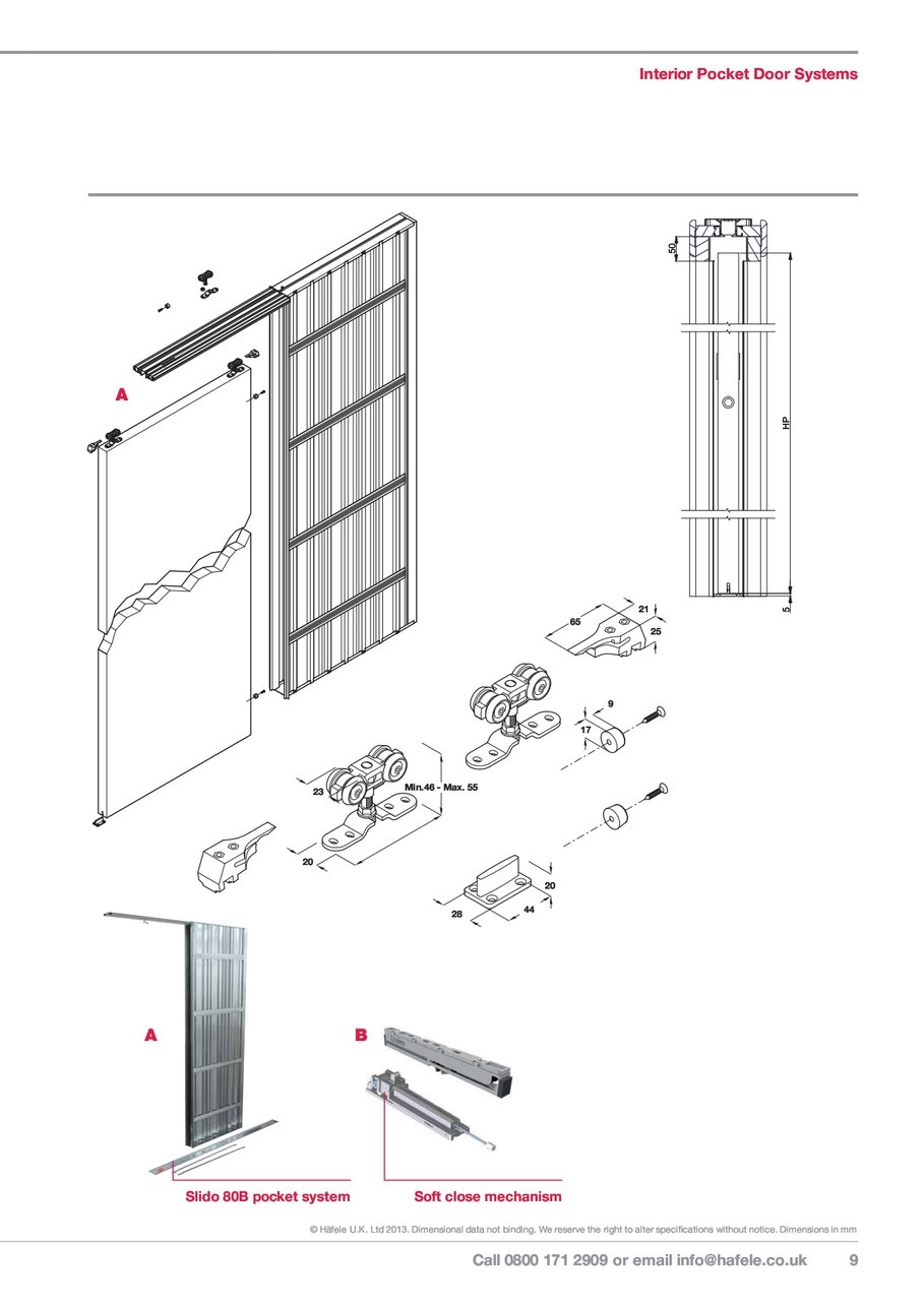 Call 0800 171 2909 Email Info Hafele Interior Pocket Door Systems