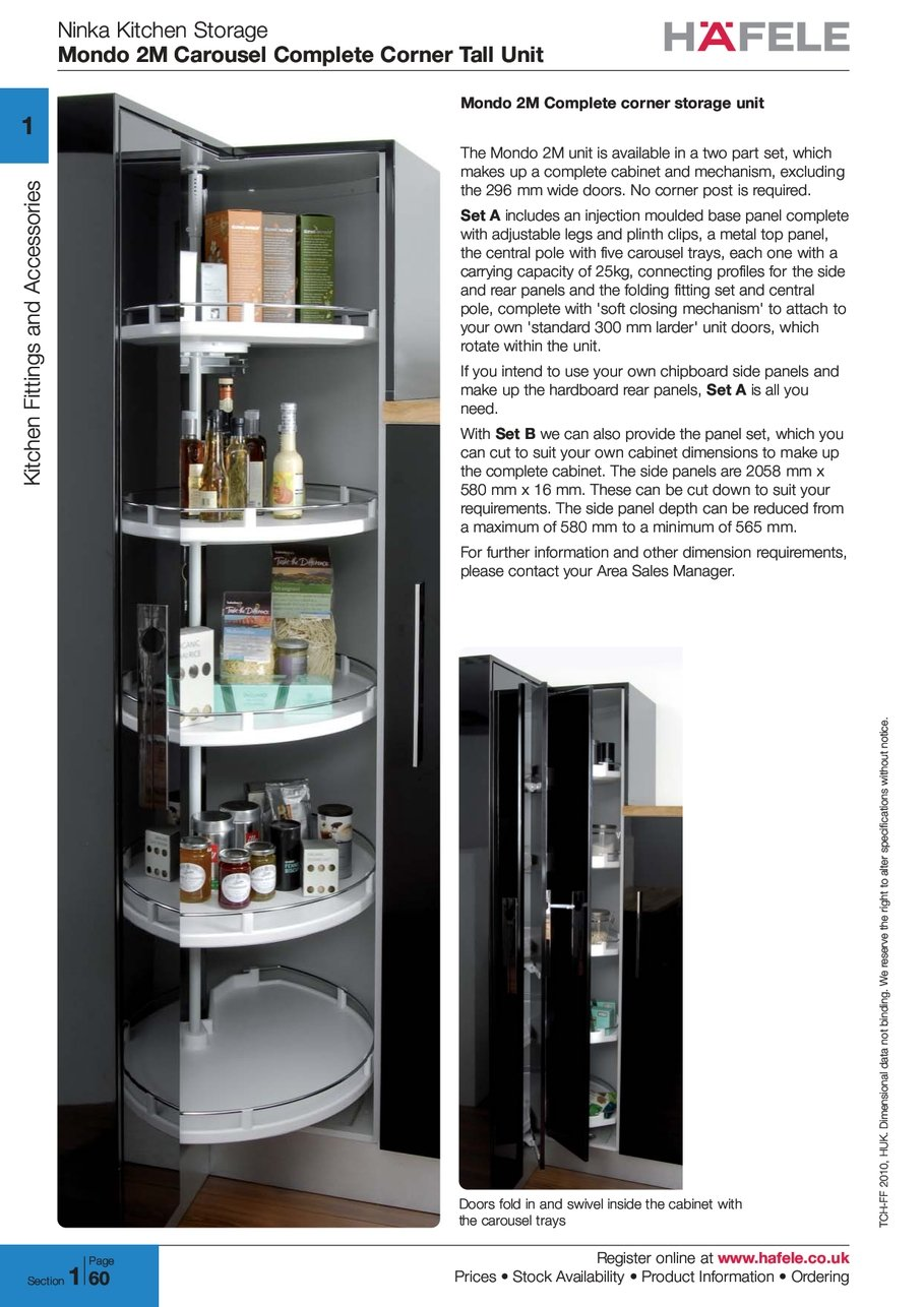 Ninka Kitchen Storage Mondo Carousel Complete Corner Tall Unit Register Online Www Hafele Prices Stock Availability Product Information Ordering 2 0 1