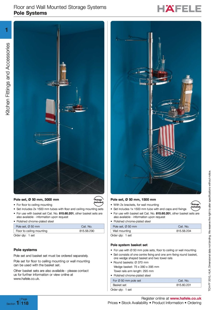 Floor And Wall Mounted Storage Systems Pole Register Hafele S Stock Availability Information Ordering 2 0 1 2010 H U K Huk