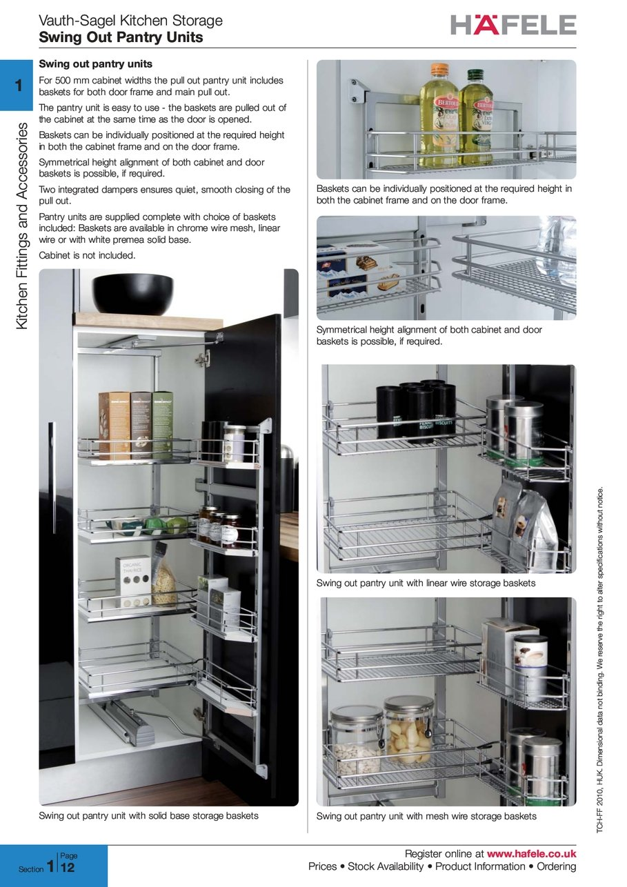 Vauth Sagel Kitchen Storage Swing Out Pantry Units Register Online Www  Hafele Prices Stock Availability Product Information Ordering 2 0 1 0 2010  H U K HUK ...