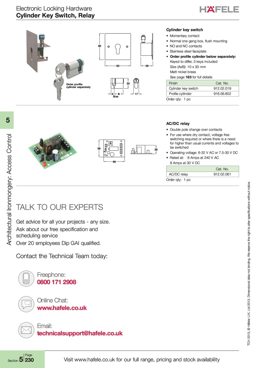 Cylinder Switch Relay No And Nc Contacts Of