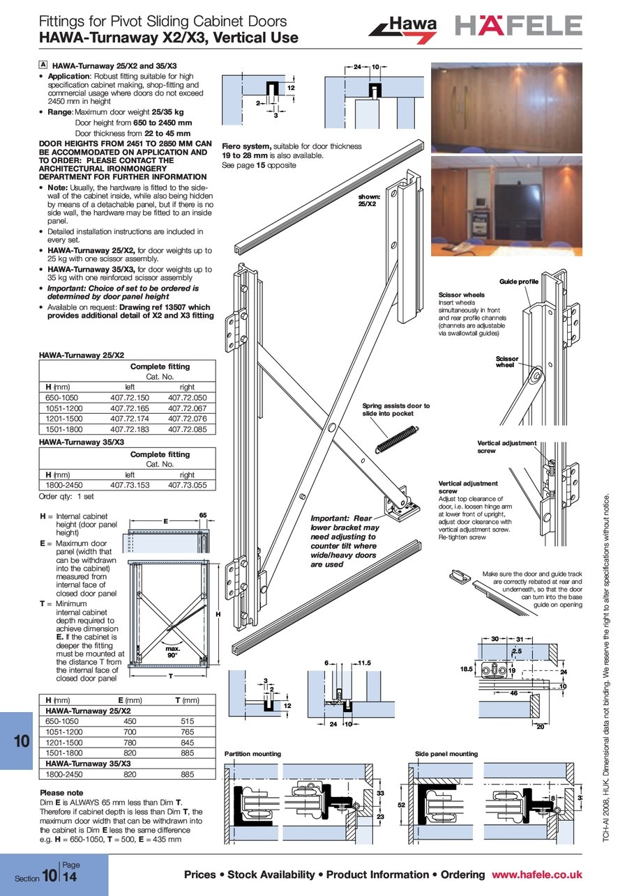 Pocket door hardware folding concepta 25 hawa 183 better building - Fittings For Pivot Sliding Cabinet Doors Hawa Turnaway Vertical Use Prices Stock Availability Product Information