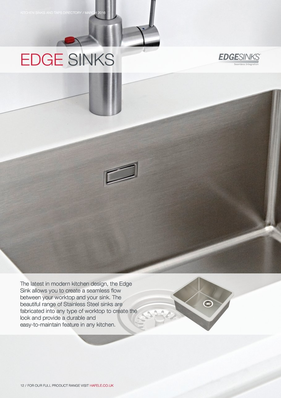 EDGE SINKS The Latest Modern Kitchen Design The Edge Sink Allows You Create  Seamless Flow Between Your Worktop And Your Sink The Beautiful Range  Stainless ...