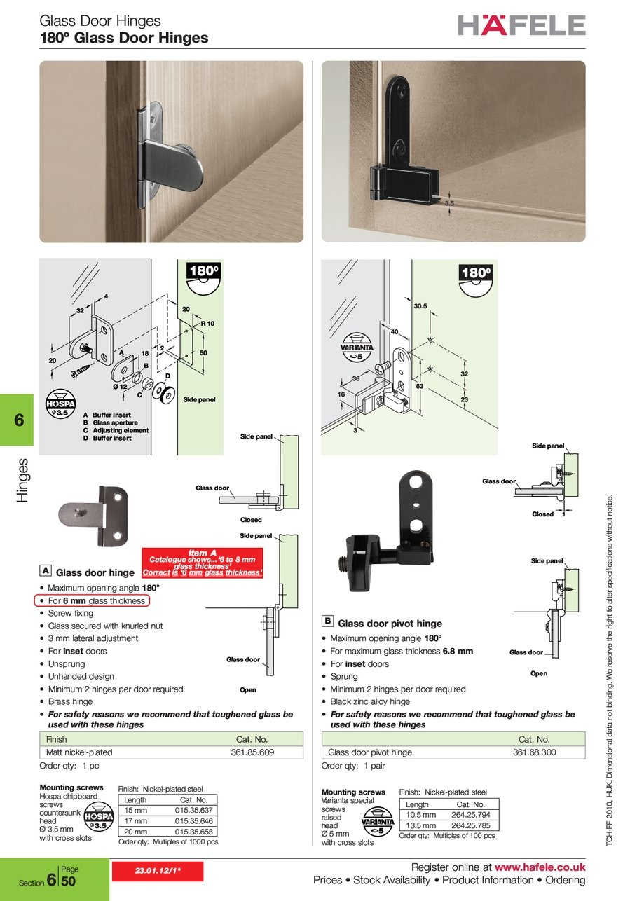 Glass Door Hinges 180º Register Hafele S Stock Availability Information Ordering 2 0 1 2010 H U K Huk I O N A L