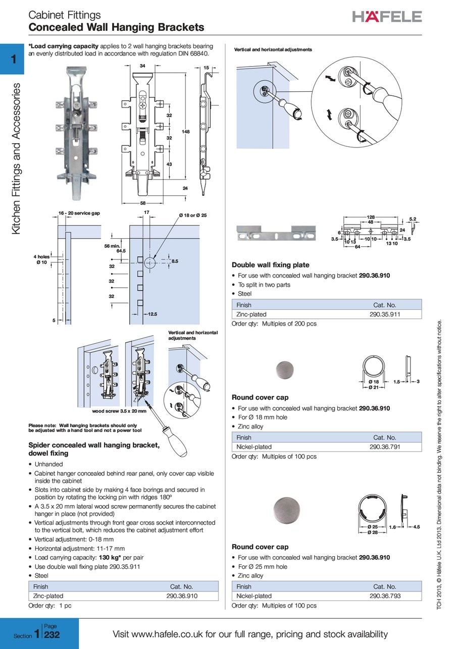 Cabinet Fittings Concealed Wall Hanging Brackets T C H TCH 2 0 1 3 2013  H ä F E L E Häfele L T D Ltd 2 0 1 3 2013 I O N A L Ional D A T A Data  N O T Not W E ...