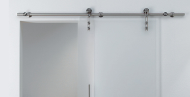 Häfele For 1 or 2 sliding glass doors. Smooth quiet operation. Maintenance-free. Simple installation. Stainless steel components  sc 1 st  Hafele & Häfele - Unotec Project - Barn Door Hardware for Glass Doors